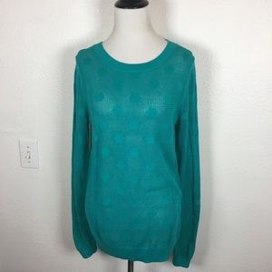 Fossil teal polka dot mesh sweater small